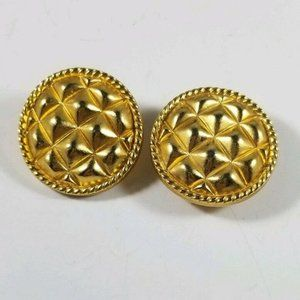 Gold Tone Textured Round Clip On Earrings